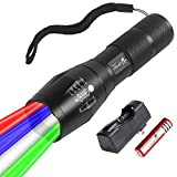 ULTRAFIRE 4 Color in 1 Tactical Flashlight Torch Rechargeable White Blue Green Red Light Flashlight Zoomable Waterproof with UFB26 Battery, Battery Charger for Hunting Hiking Camping Fishing