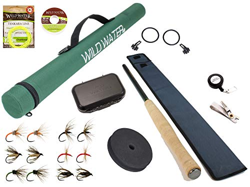 Wild Water Fly Fishing 12' Tenkara Fly Rod Complete Combo Starter Package with Tenkara Flies