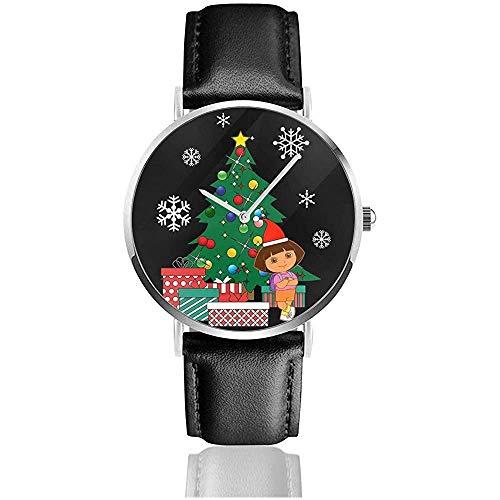 Unisex Business Casual Dora Die Entdeckerin rund um den Weihnachtsbaum Uhren Quarz Leder Uhr