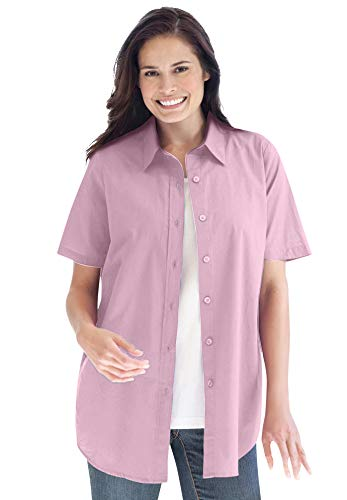 Woman Within Women's Plus Size Perfect Short Sleeve Button Down Shirt - 2X, Pink