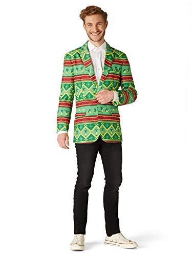 Suitmeister Christmas Elf Blazer for Men - The Perfect Xmas Costume Jacket - Christmas Elf Nordic Green - L