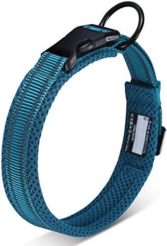 Petcomer Cuello de Perro con Anilla para Correa Collar de Seguridad Ajustable Cómodo para Perros Pequeños Medianos o Grandes (XXS 28-30cm, Azul)