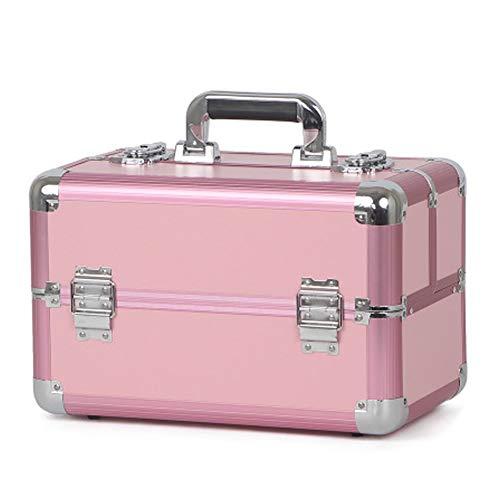 OUY Kosmetiktasche, tragbar, Profi-Koffer, Aluminiumlegierung, Nagelkosmetik, Tattoo-Schmuck, Aufbewahrungsbox, Werkzeugkiste, Material, hellrosa, Größe