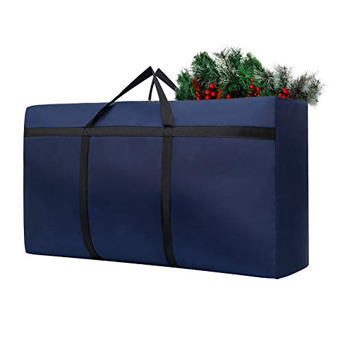 GPURE Christmas Tree Storage Bag 21X14X6.5 Inch Wateproof Fabric Xmas Tree Decor Holiday Decoration Store Bag With Zipper & Durable Handles For Garland Wreath Organizer Storage Container Sack (A)