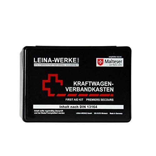 LEINA-WERKE REF 10007 LEINA KFZ-Verbandkasten Standard, Inhalt DIN 13164, schwarz, Black/White-Red