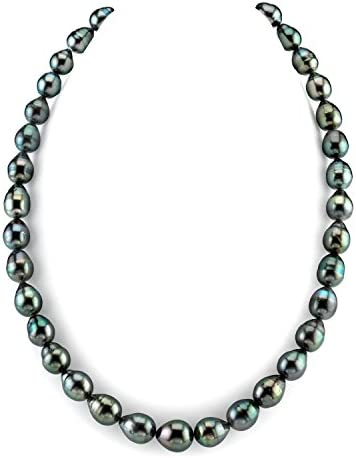 THE PEARL SOURCE 14K Gold 9 11mm Baroque Genuine Black Tahitian South Sea Cultured Pearl Necklace product image