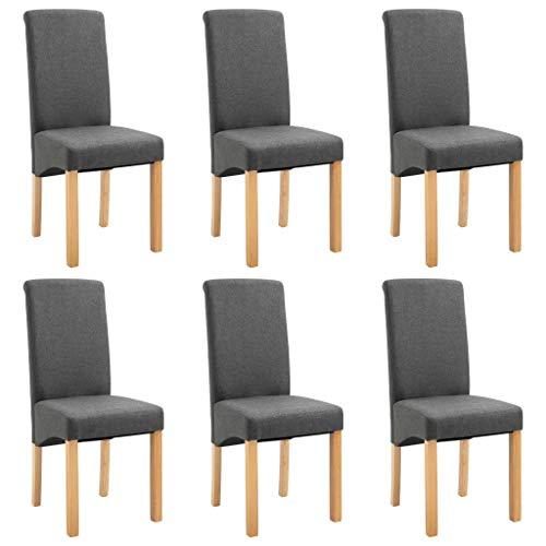 Cikonielf 6 sillas de comedor con estructura de madera maciza, 42 x 54,5 x 96 cm, sillas sin brazos acolchadas de diseño con revestimiento de tela gris