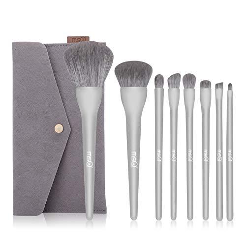 MSQ 8 Stück professionelles Make-up-Pinsel-Set Start Makers Make-up-Pinsel Kosmetik-Kit mit Bag Travel Foundation Kontur-Make-up-Pinsel-Set (Silber)