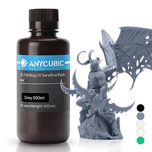 ANYCUBIC Stampate 3D UV Resina 405nm Fotopolimerica Rapida per Photon S Liquido 3D Resin Universale alta Precisione per Stampanti LCD/DLP/SLA 3D, 500ml Grigio