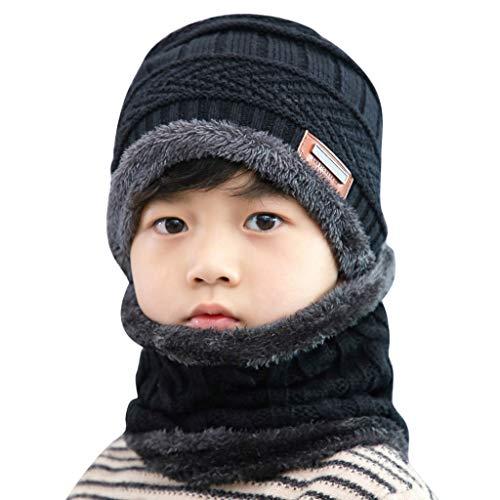 Kids Winter Knit Hat Baby Girls Boys Thick Scarf Earflap Hood Scarves Skull Caps Fleece Lining Warm Winter Hats Scarf Two Piece Set