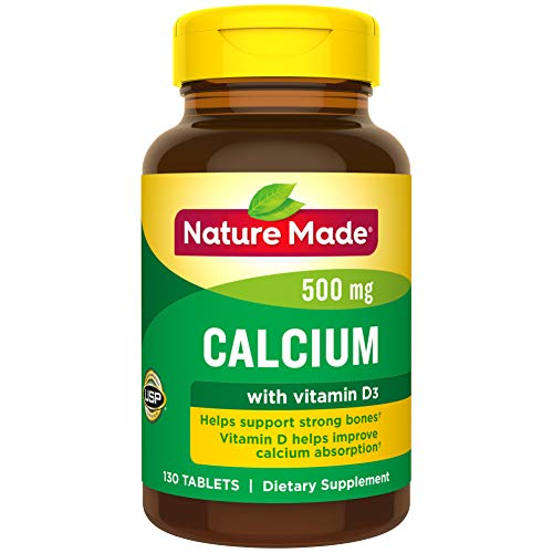 Nature Made Calcium 500 mg Tablets with Vitamin D, 130 Count for Bone Health (Packaging May Vary) (Calcium 500mg With Vitamin D 1000 Iu)