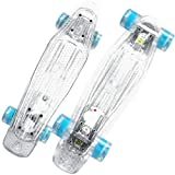 cobcob Skate Board ,Skateboard Complete 22.4' Mini Cruiser Retro Trick Longboard LED Light up Wheels Designed for Kids and Teens Beginners (Clear)