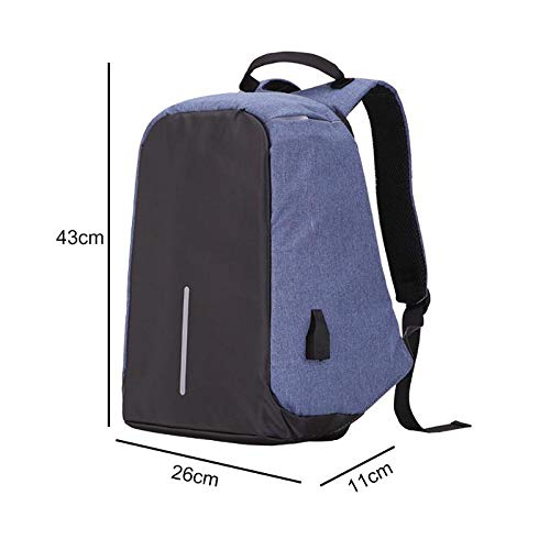 Sac à Dos Fashion Business Leisure Rucksack Bag with USB Charging Socket Large Capacity Outdoor Travel Camera Laptop Backpacks Blue