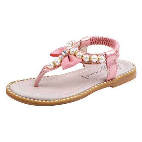 Find Discount Shan-S Girls' Thong Sandals Infant Kids Baby Summer Rhinestone Pearl Bow Boeknot Pearl...