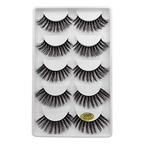 Qinshi 3D Falsche Wimpern, Künstliche Wimpern Set, Dicken Augen Wimpern natürliche Wimpern, Wiederverwendbare Kunstfaser Wimpern Langlebige Flauschige