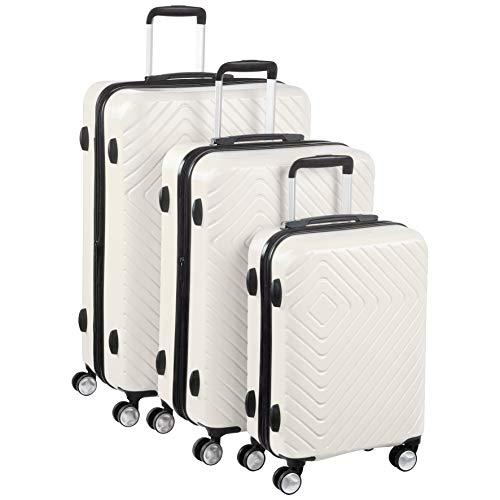 Amazon Basics - Trolley con motivo geometrico, Set da 3 pezzi (55 cm, 68 cm, 78 cm), Panna