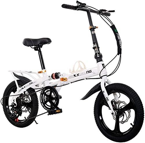 Bicicleta blanca para adultos Estudiantes masculinos y femeninos Mini bicicleta Bicicleta de carretera para estudiantes Bicicleta plegable Bicicleta portátil de 20 pulgadas con freno de disco de choqu