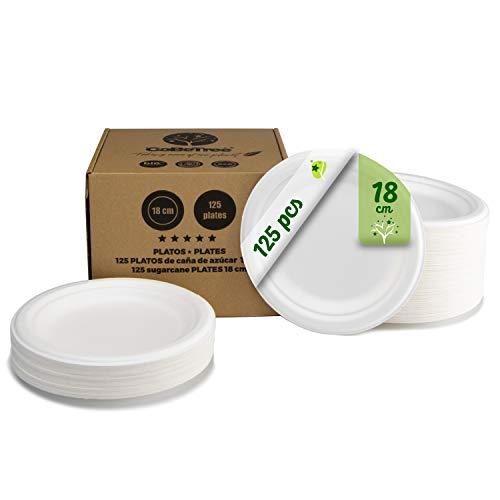 GoBeTree 125 Platos Desechables biodegradables de Papel de caña de azúcar de Ø18 cm en Caja de cartón. Platos extrafuertes de Color Blanco. Platos Redondos