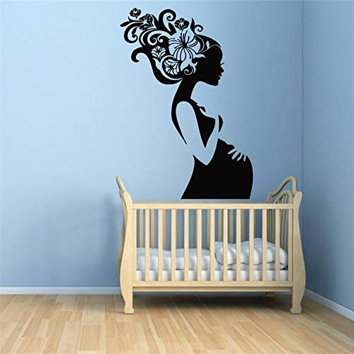 Geiqianjiumai Schwangere Frauen Blume Haar Kinder Mutter Schlafzimmer Art Deco Vinyl Aufkleber Kinderzimmer Wandaufkleber Dekoration 87X60CM