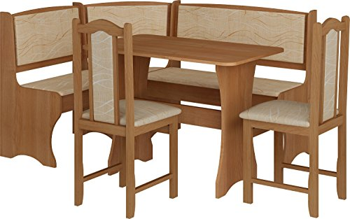 MEBLE FURNITURE & RUGS Breakfast Kitchen Nook Table Set, Bench Seating with Storage and Chairs, Alder Color