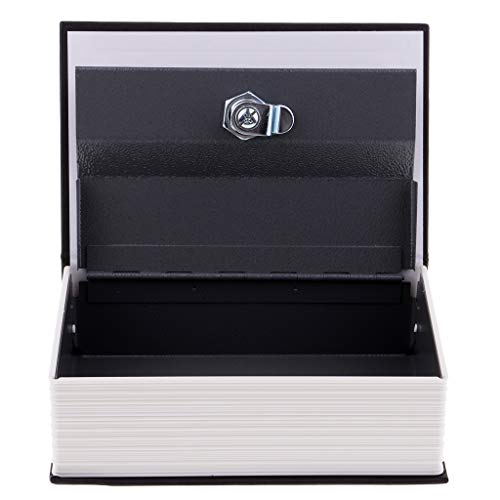 Sharplace Caja de Seguridad Oculta para Libro de Desvío Caja de Seguridad Oculta con Cerradura de Llave 18 X 11,5 X 5,5 Cm - Negro, Individual