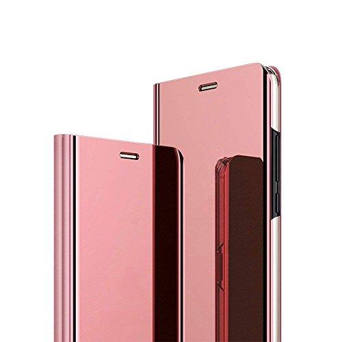 Caler ® Funda Compatible/Reemplazo para Xiaomi MI A2 Lite Funda,Flip Tapa Libro Carcasa Modelo Fecha Espejo Brillante tirón del Duro Case, Espejo Soporte Plegable Reflectante