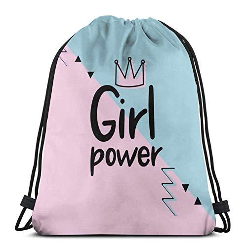 LREFON Gimnasio Bolsas con cordón Mochila Chica Power Sackpack Tote para almacenamiento de viaje Organizador de zapatos Bolsas de regalo de ahorro para niños