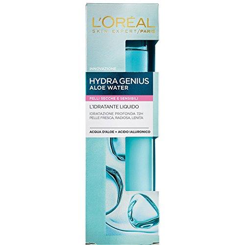 L'Oréal Paris Trattamenti HydraGenius Crema Viso Idratante Liquido Giorno, Pelli Secche e Sensibili, 70 ml