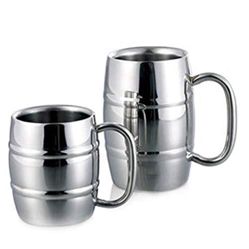 300ml 500ml dubbele muur bier mokken vat vorm koffie mok met handvat roestvrij staal wodka thee koffie bekers Camping Drinkware