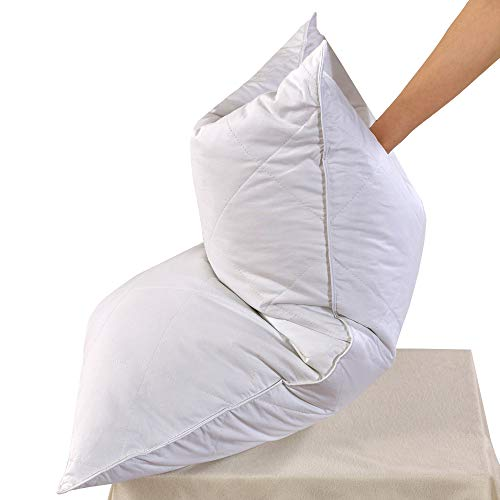 White Goose Feather Bed Pillow - 600 Thread Count Egyptian Cotton, Medium Firm,Soft Support Queen...