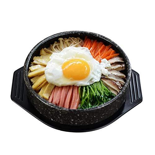 Cacerola olla olla olla de cocción lenta de piedra coreana olla de piedra olla caliente para sopa bibimbap con bandeja cazuela de arcilla, olla de sopa, 1.2L