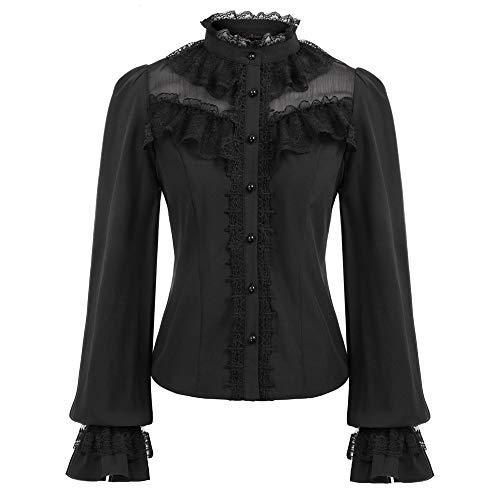Curlbiuty Damen Gothic Victorian Oberteile Lange Ausgestellte Ärmel Stehkragen Elastisch Rücken M Schwarz CU43-1