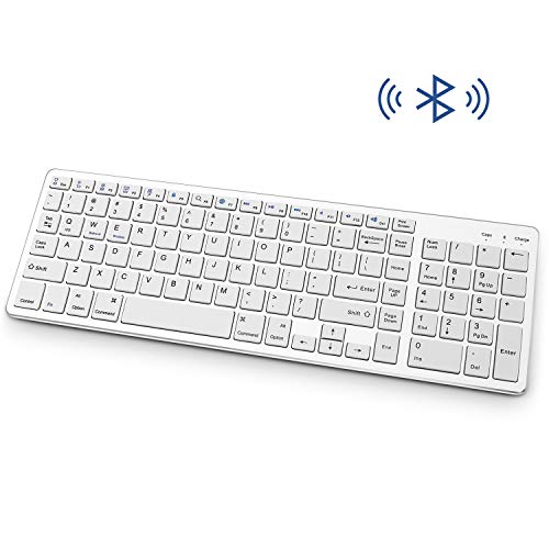 Bluetooth Keyboard, Rechargeable Portable BT Wireless Keyboard with Number Pad Full Size Design for Laptop Desktop PC Tablet, Windows iOS Android (Silver)