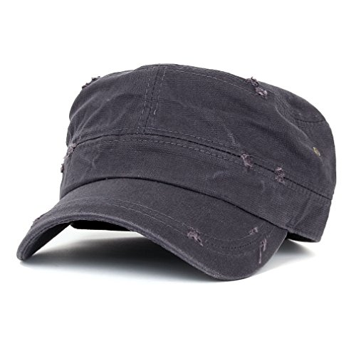 ililily Distressed Cotton Cadet Cap with Adjustable Strap Army Style Hat (cadet_527_2)