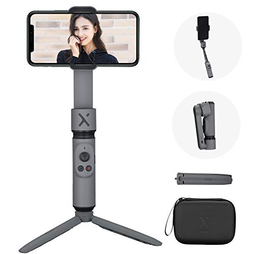 ZHIYUN Smooth X Gimbal Stabilizer, Foldable Selfie Stick for Smartphone, Extendable Handheld iPhone Android Gimbal, YouTube Vlog Live Video, Face Tracking, Gesture & Zoom [Tripod & Case], Gray