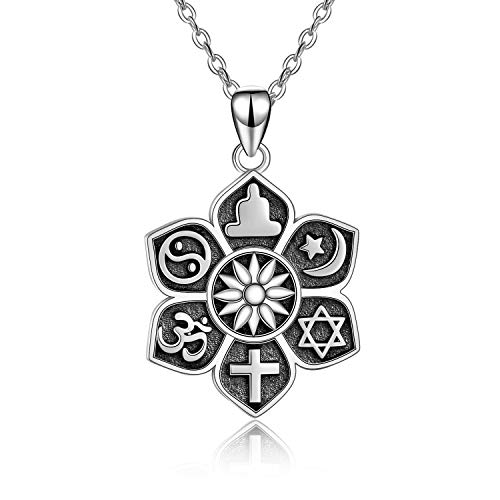 Buddha Lotus Necklace Sterling Silver Lotus Flower Pendant Necklace Star Cross Yoga...