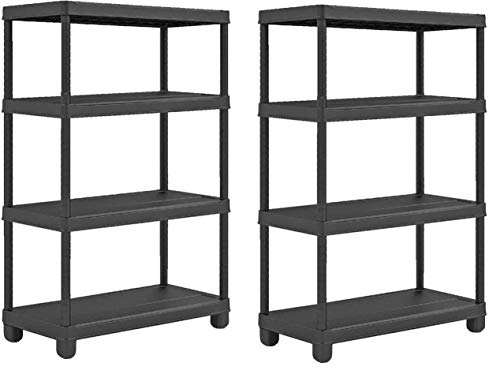 4 Tier Heavy Duty Plastic Racking Shelving Unit for Garage Shed Warehouse Storage [Pack of 2]