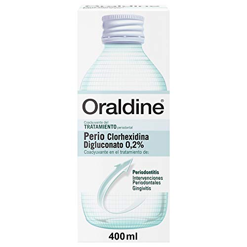 Oraldine Perio Clorhexidina 0.2%, Colutorio Antiséptico Bucal Sin Alcohol, Coayudante del Tratamiento Periodontal - 400 ml