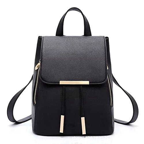Borsa Naerde moda borsa a tracolla zaino donne PU Leather Ladies Shoping zaino Travel (nero)