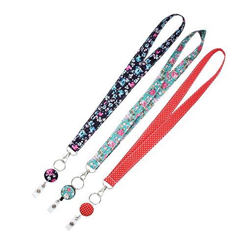 FOONEE 3 Unidades de Cordones para el Cuello para Llavero/Soporte de identificación, Bonito cordón con Soporte de identificación – Cinta de Tapiz con Carrete de identificación para Mujer