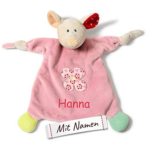 LALALO Schmusetuch mit Namen Bestickt, NICI Schnuffeltuch personalisiert, Baby & Kleinkind Stofftier-Kuscheltuch Einschlafhilfe (Maus)