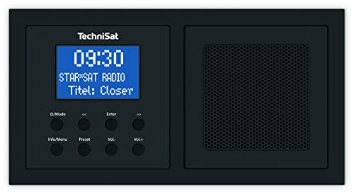 TechniSat DIGITRADIO UP 1 - DAB+ Unterputzradio zur Anbringung in jeder Doppel Unterputzdose (DAB, UKW, Bluetooth, dimmbares LCD-Display, Wecker, Sleeptimer, 2 Watt RMS) schwarz