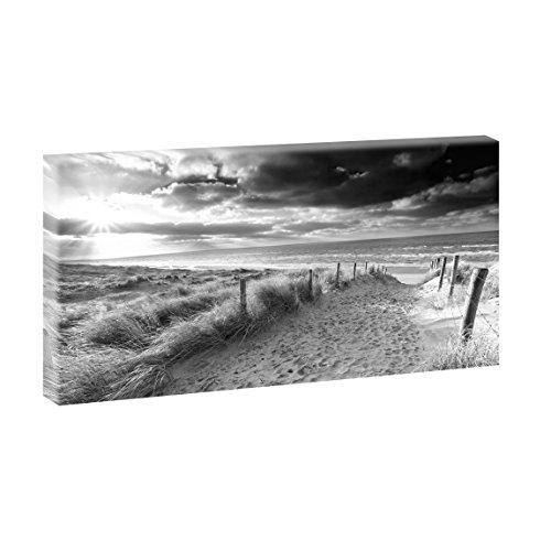 Weg zum Strand 4 | Panoramabild im XXL Format | Kunstdruck auf Leinwand | Wandbild | Poster | Fotografie | Verschiedene Formate und Farben (40 cm x 80 cm, Schwarz-Weiß)