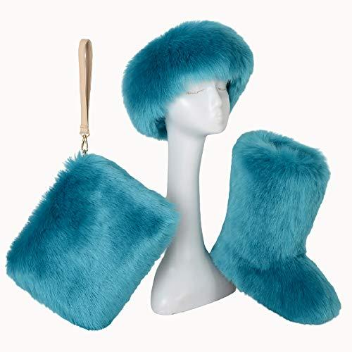 AELEGASN - Set di 3 pezzi di stivali da neve in finta pelliccia di volpe da donna, caldi, con fascia per capelli, 6,36