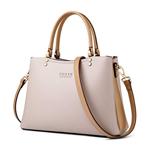 Leather Handbags for Women, Split Cowhide Ladies Top-handle Bags with Adjustable Shoulder Strap Women's Tote Bags Womens Crossbody Messenger Bags Casual Satchels for Women Girls (Apricot)