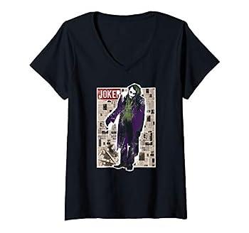 Womens Batman Dark Knight Joker Funny Pages V-Neck T-Shirt