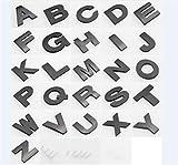 Fully 2.5CM/0.98' DIY 3D Metall Aufkleber Emblem Buchstaben Nummer Zeichen Selbstklebenden für Auto Laptop Motorrad (Schwarz, Stil A: Bitte email Uns für 3 Stücke!)