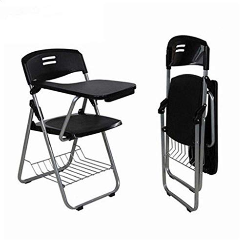 Y-LKUN Writing Board Chair Conference Chair Frame Between A Stable Chair With A Table And Comfortable Folding Backrest Folding Chair Meeting Writing Board Training Chair ( Color : Black , Size : 45x52