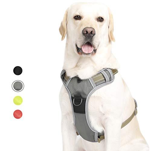 Louvra Geschirr für Hunde Hundegeschirr Gepolsterte Geschirre Einstellbare Brustgeschirre Nylon No Pull Dog Harness Sicherheitsgeschirr für Grosse Mittelgroße Kleine Hunde, Rot/Grün/Schwarz