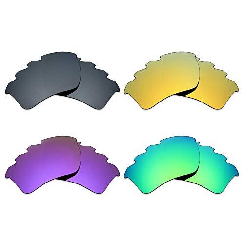 Mryok Lot de 4 paires de verres polarisés de rechange pour lunettes de soleil Oakley Half Jacket 2.0 XL ventilées – Noir IR/or 24 carats/violet plasma/vert émeraude